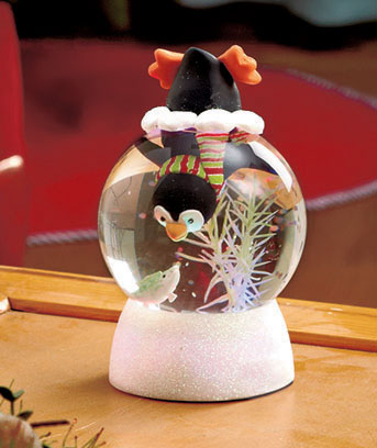 Penguin Lighted Swirling Snow Globes