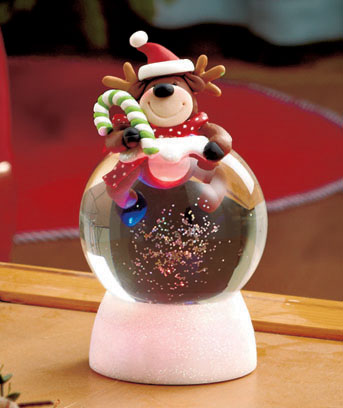 Reindeer Lighted Swirling Snow Globes