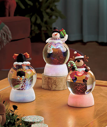 Lighted Swirling Snow Globes