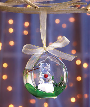 Teddy Bear Lighted Glass Keepsake Ornament