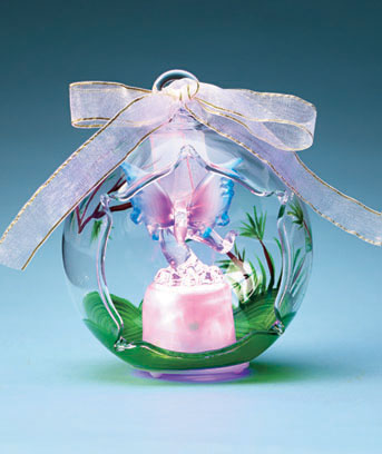 Butterfly Lighted Glass Keepsake Ornament