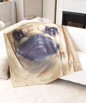 Pug Cozy Fleece Throw