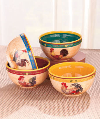 Set of 4 Rooster Themed Bowls