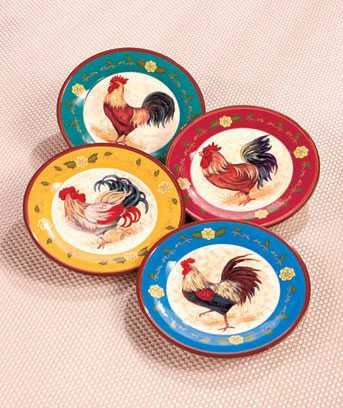 "Set of 4 8"" Rooster Themed Plates"