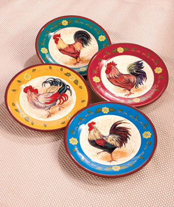 "Set of 4 10"" Rooster Themed Plates"