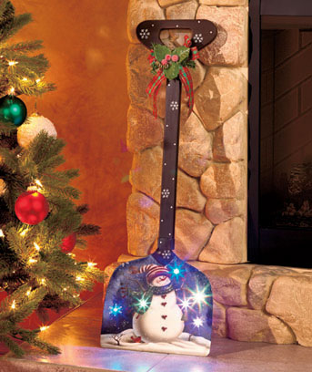 Decorative Lighted Snowman Shovel