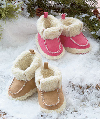 Faux Shearling Infant Booties