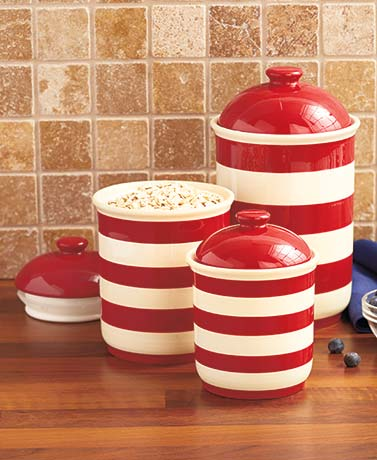 Sets of 3 Striped Canisters