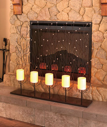 fireplace screen with led candles ltd commodities rh ltdcommodities com Cancles Fireplace votive candle fireplace screen
