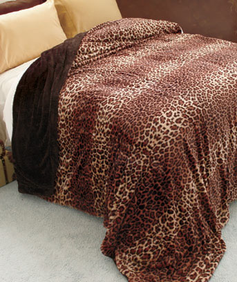Leopard Safari Chic Faux Fur Bed Blankets