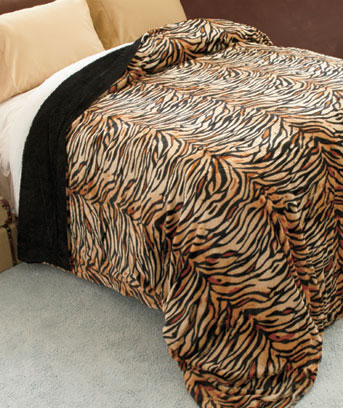 Tiger Safari Chic Faux Fur Bed Blankets
