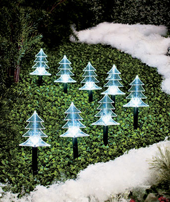 Set of 8 Solar Lighted Trees