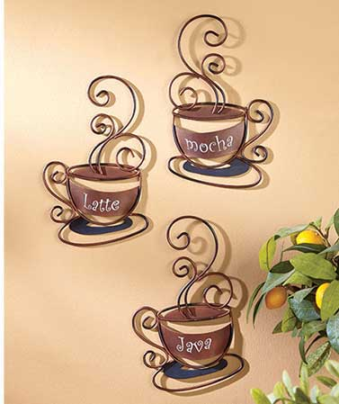 Set of 3 Decorative Metal Coffee Cups