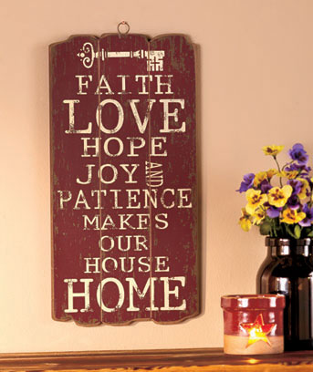 Faith, Love, Hope Wooden Panel Wall Hanging