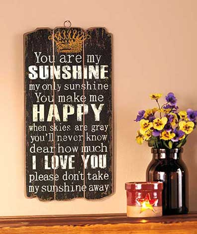 Sunshine, Happy, I Love You Wooden Panel Wall Hanging