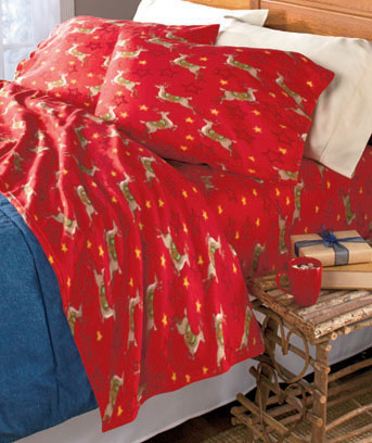 Reindeer Seasonal Fleece Sheet Sets