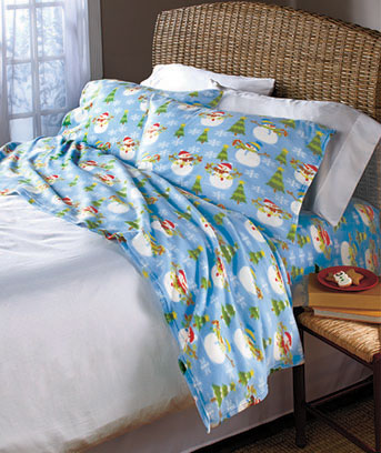 Snowman Seasonal Fleece Sheet Sets