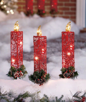 Set of 3 Lighted Candle Stakes