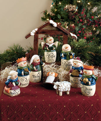 10-Pc. Inspirational Snowman Nativity