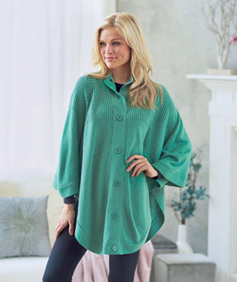 Women's Button Neck Sweater Ponchos