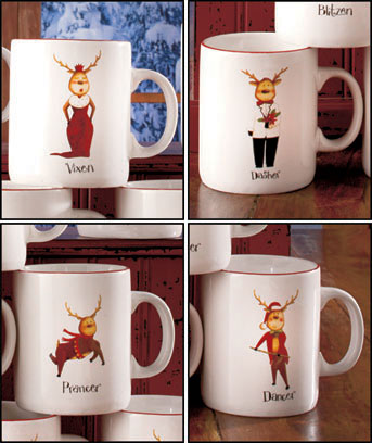 Sets of 4 Reindeer Mugs