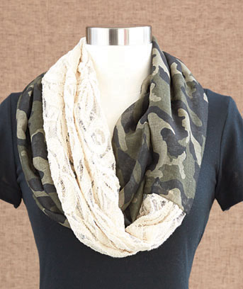 Camo Lace & Woven Infinity Loop Scarf