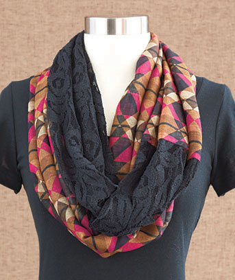 Geometric Lace & Woven Infinity Loop Scarf