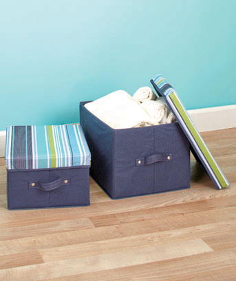 Stripes Set of 2 Handled Storage Boxes