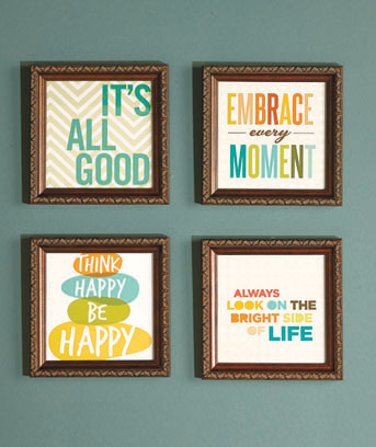 Sets of 4 Whimsical Sentiment Plaques