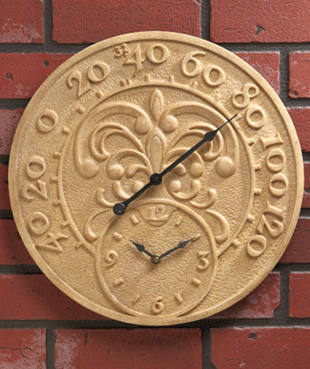 Ceramic Outdoor Wall Clock Amp Thermometer Ebay