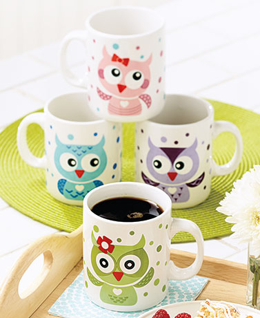 Set of 4 Owl Mugs
