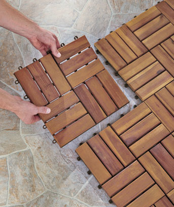 ... Set Of 10 Wood Patio Pavers