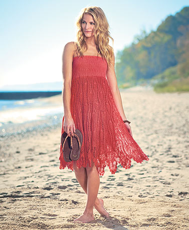 Women's Coral Crochet Convertible Coverup