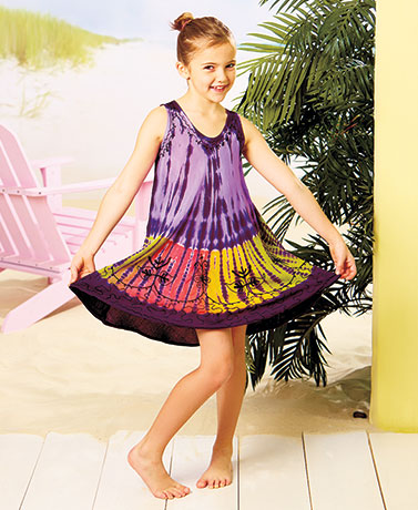 Girls' Tie-Dye Rayon Dresses