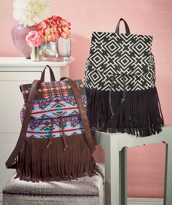 Fashion Print Fringe Backpacks