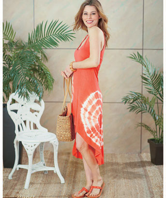 Women's Cross Over Coral Coverup Dress