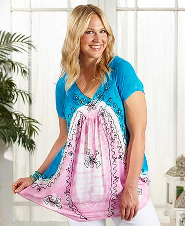 Plus-Size Tie-Dye Tunic Tops