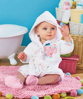 Baby Embroidered Robe and Slipper Sets