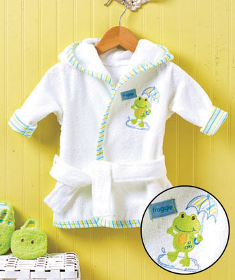 Baby Frog Embroidered Robe and Slipper Set