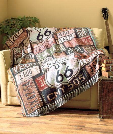 route 66 woven throw blanket vintage looking home sofa chair accent decor new ebay. Black Bedroom Furniture Sets. Home Design Ideas