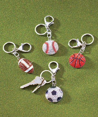 Sports Fan Bling Key Chains