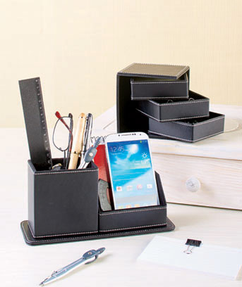 Faux Leather Desktop Organizers