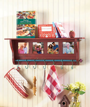 Photo Frame Wall Shelf with Hooks