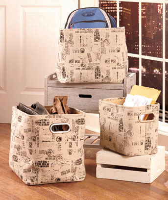 Set of Newspaper Printed Fabric Baskets