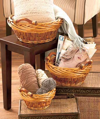 Sets of 3 Storage Baskets with Handles
