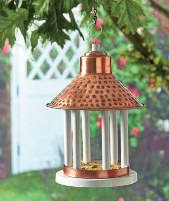 Copper Finish Covered Bird Feeders