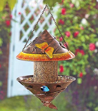 Metal Birdhouse and Feeder