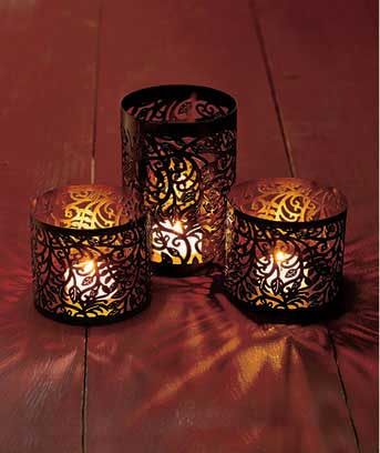 Sets of 3 Metal Cutout Lanterns