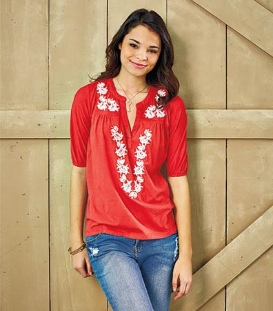 Women's Embroidered Knit Tops