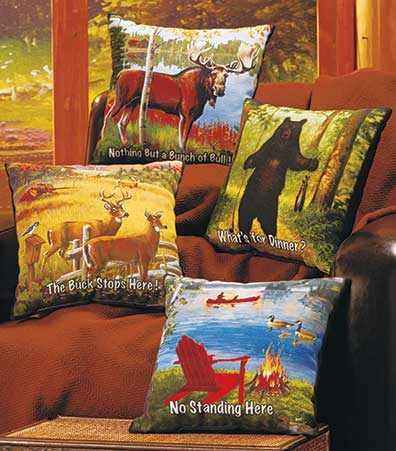 Humorous Lodge-Themed Pillows